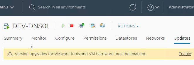 VMware Tools and VM Hardware Update in vSphere 6 7U1